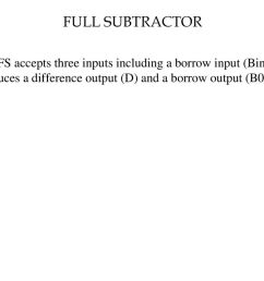 20 full subtractor the fs accepts three inputs including a borrow input bin and produces a difference output d and a borrow output b0  [ 1024 x 768 Pixel ]