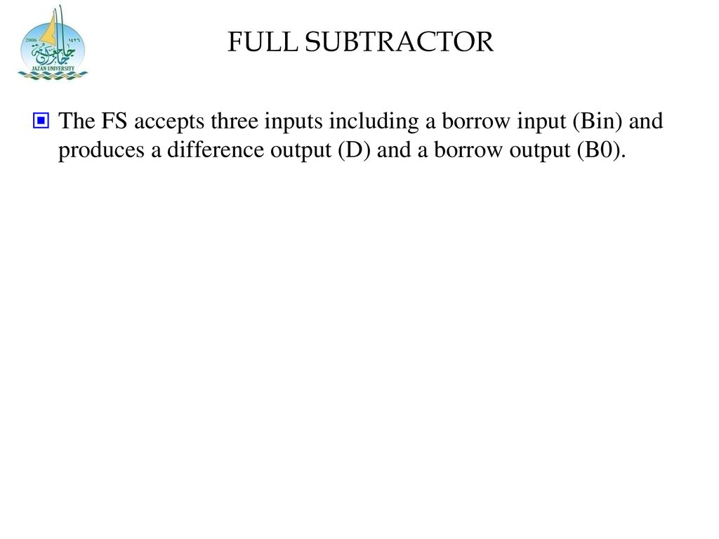 hight resolution of 20 full subtractor the fs accepts three inputs including a borrow input bin and produces a difference output d and a borrow output b0