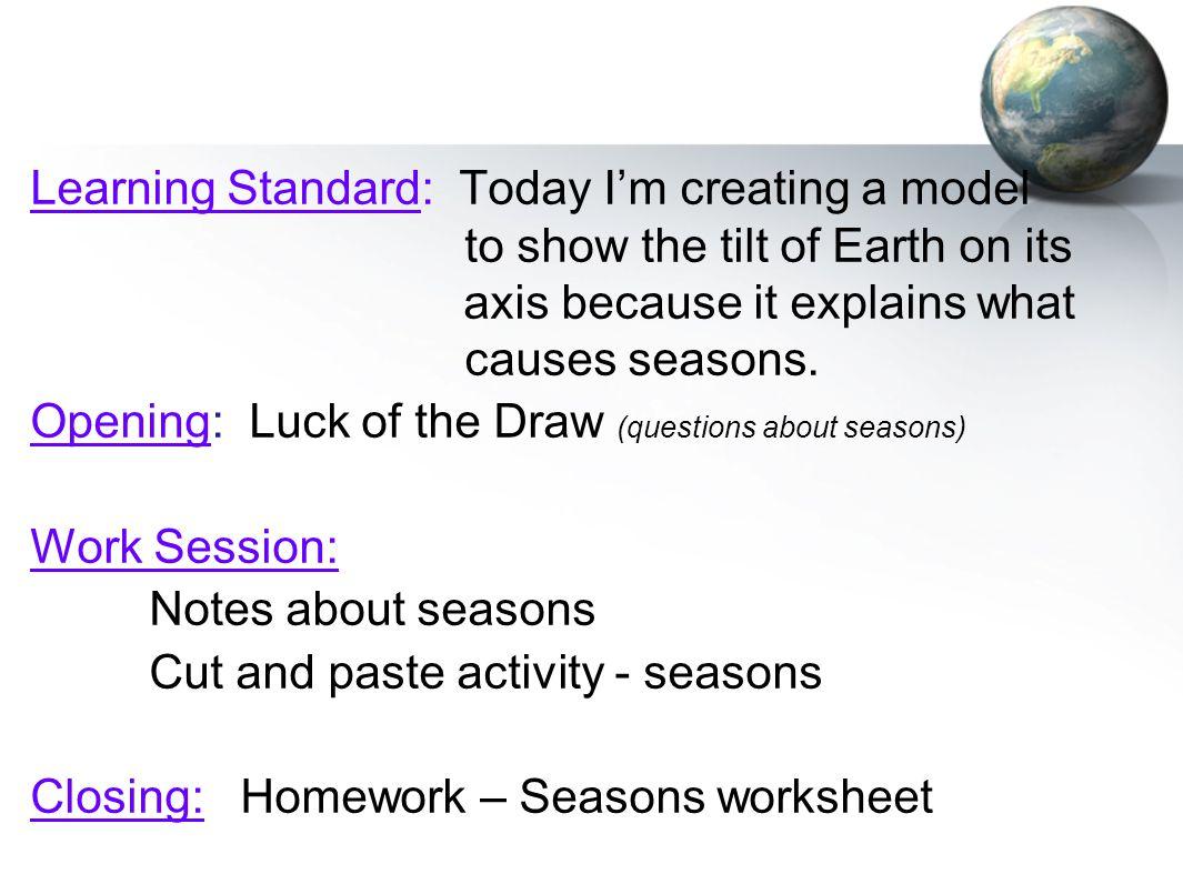 Reasons For Seasons Worksheet