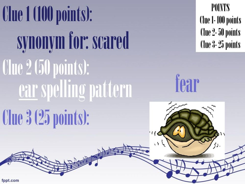 medium resolution of 4 fear synonym for scared ear spelling pattern clue 1 100 points
