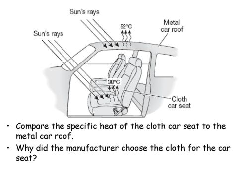 small resolution of compare the specific heat of the cloth car seat to the metal car roof
