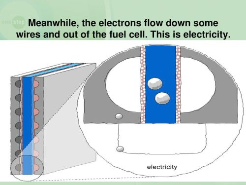 small resolution of meanwhile the electrons flow down some wires and out of the fuel cell
