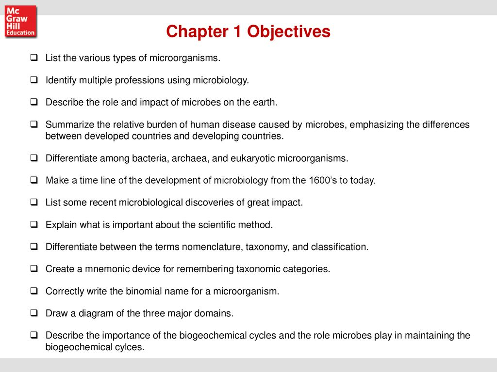 hight resolution of chapter 1 objectives list the various types of microorganisms