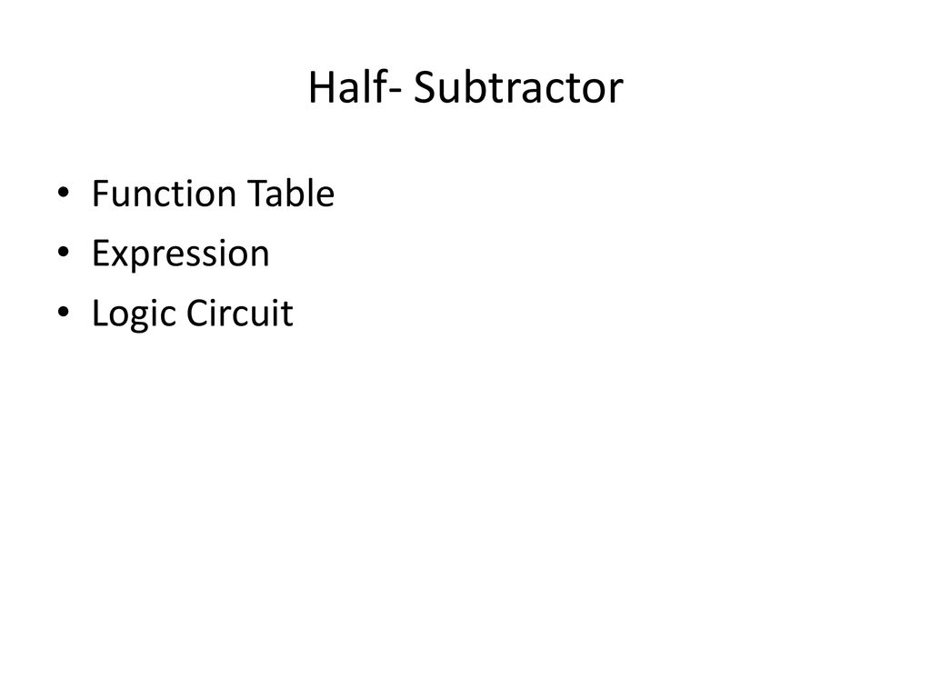 hight resolution of 2 half subtractor function table expression logic circuit