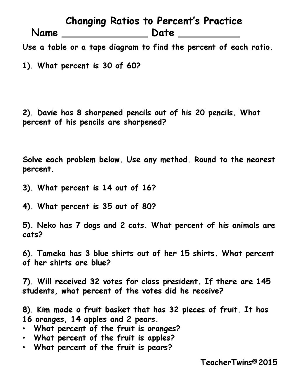 hight resolution of changing ratios to percent s practice