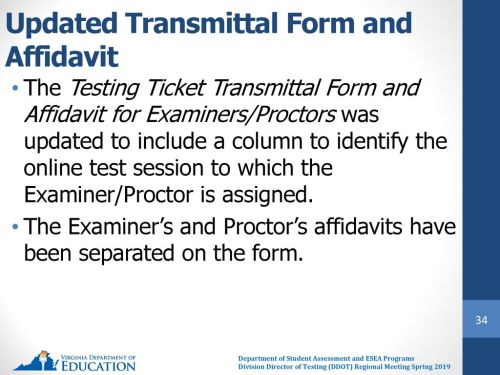 small resolution of updated transmittal form and affidavit