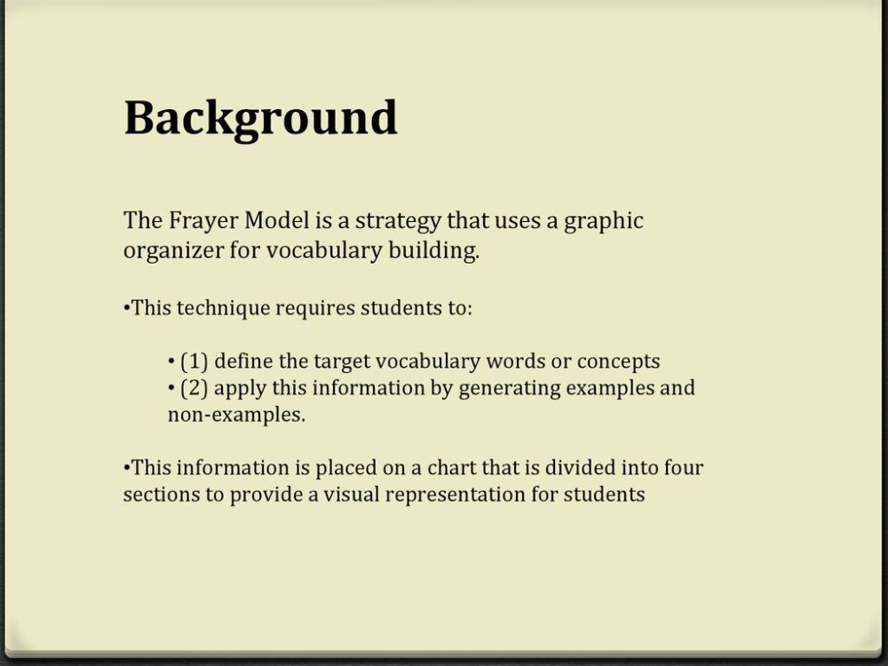 medium resolution of background the frayer model is a strategy that uses a graphic organizer for vocabulary building