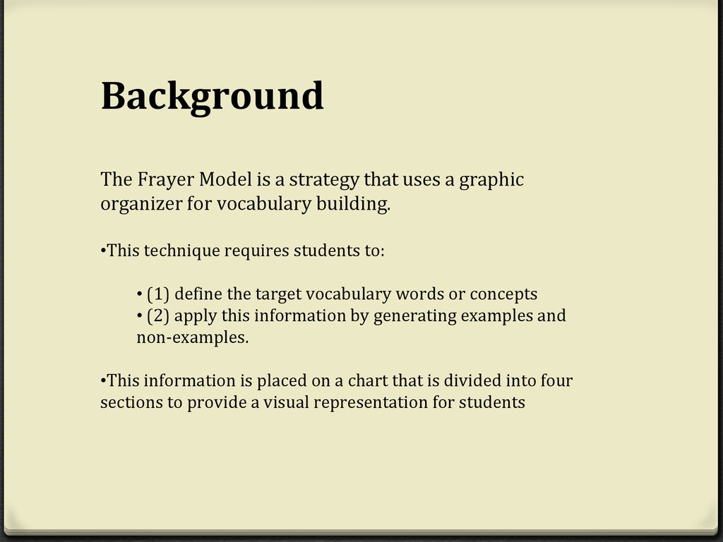 hight resolution of background the frayer model is a strategy that uses a graphic organizer for vocabulary building