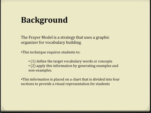small resolution of background the frayer model is a strategy that uses a graphic organizer for vocabulary building