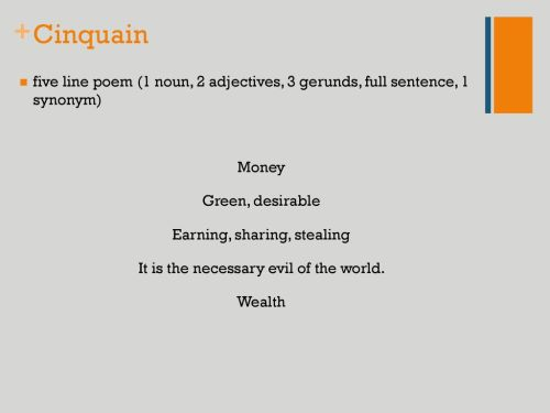 small resolution of Prose Acrostic Cinquain What is poetry? Concrete Haiku Limerick Elegy. -  ppt download