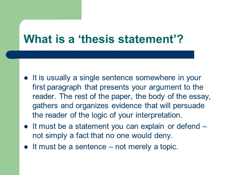 Thesis Statement Main Idea Conclusion  ppt video online download