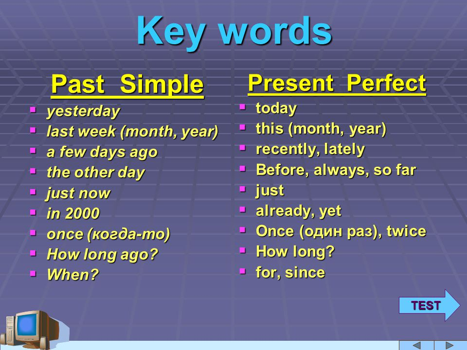 + keywords! (past simple & present perfect) - Learning ...