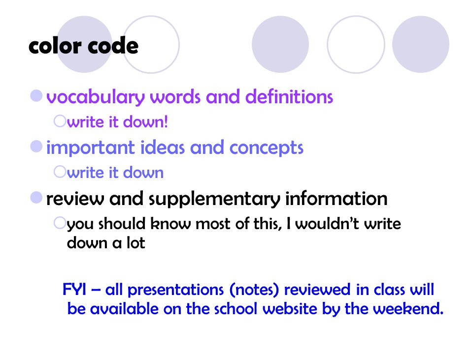 color code vocabulary words
