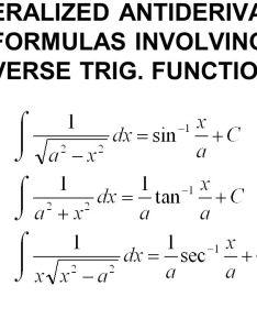 Functions generalized antiderivative formulas involving inverse trig also trigonometric ppt download rh slideplayer