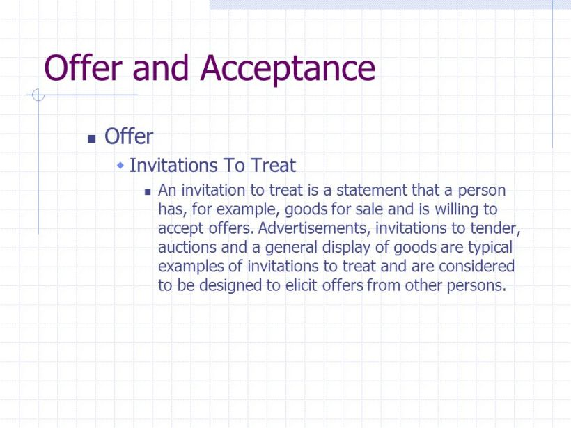 Offer And Acceptance Invitations To Treat