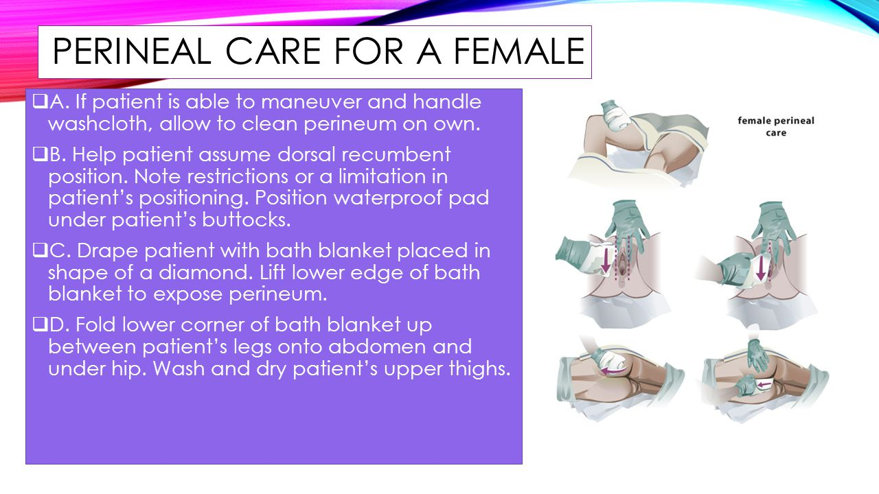 hight resolution of perineal care for a female