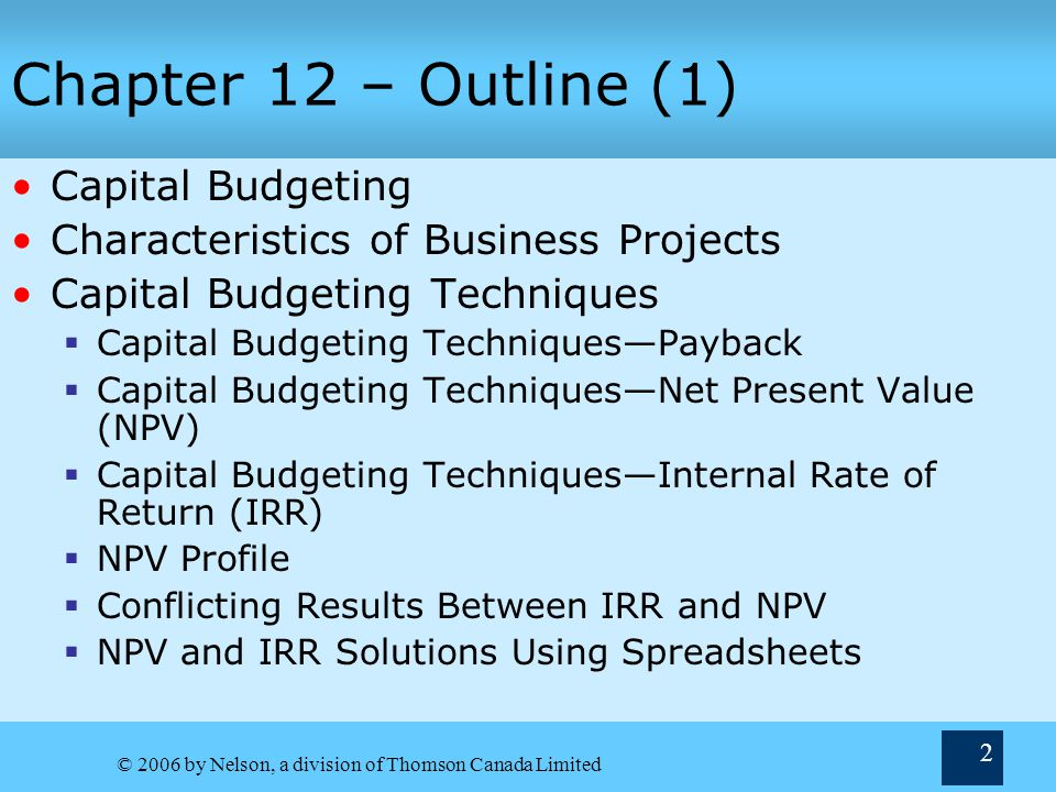 12 Capital Budgeting Chapter Terry Fegarty Seneca College - ppt download