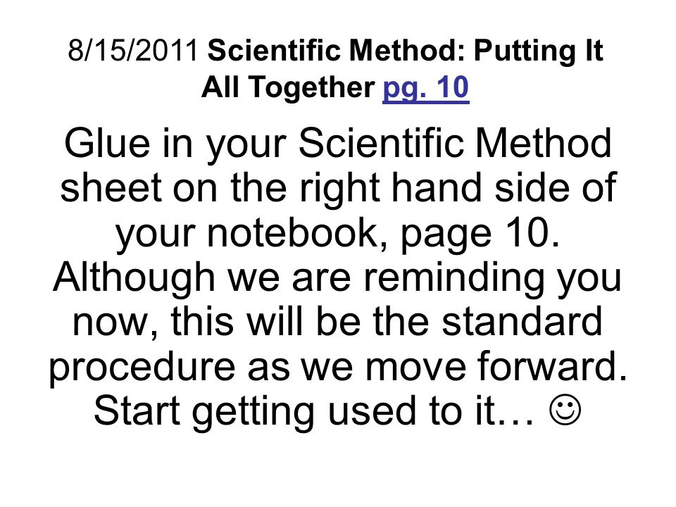 Scientific Method: Putting It All Together pg ppt video