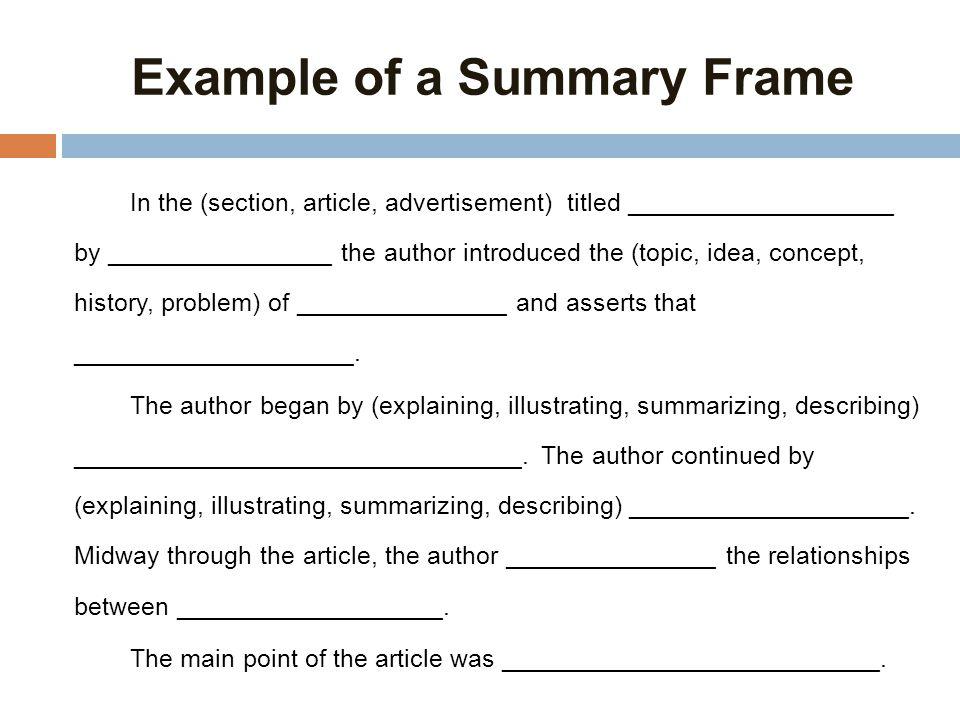 one sentence summary frames | Framejdi.org