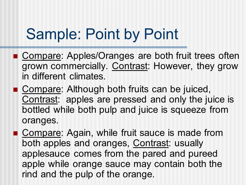 compare contrast essay sample