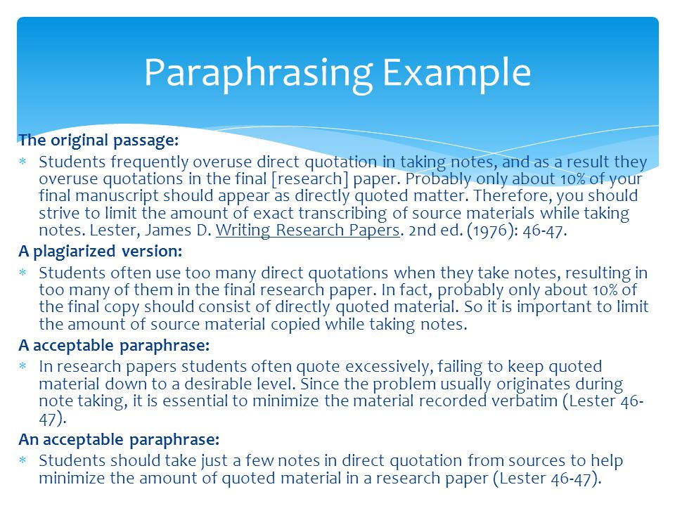 Paraphrases In Research Papers Coursework Academic Service