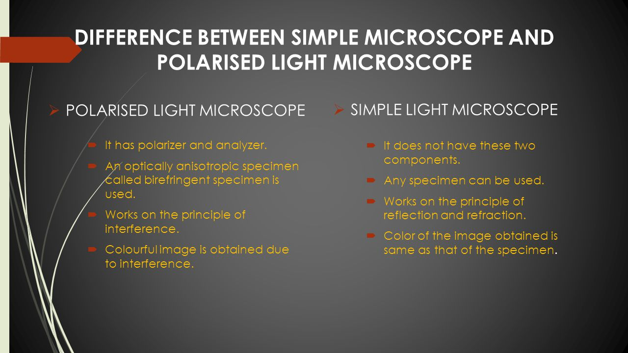 hight resolution of difference between simple microscope and polarised light microscope