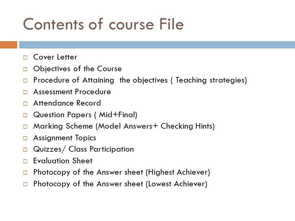 Role of Course File in Assessment  ppt video online download