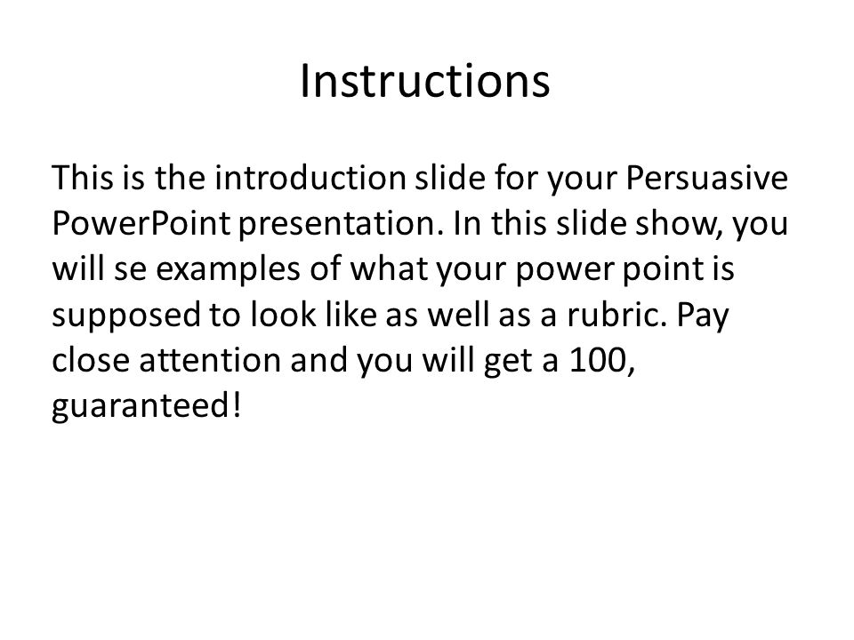 Instructions This Is The Introduction Slide For Your