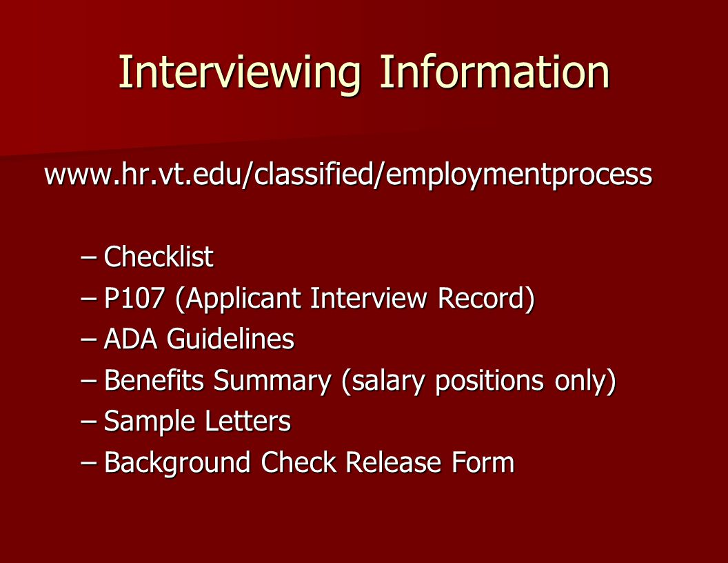 Interviewing Information