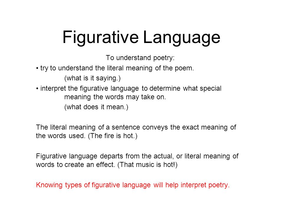 Figurative Language To Understand Poetry Ppt Video