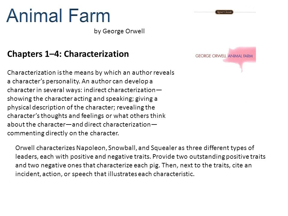 Animal Farm Chapters 1–4 Characterization By George