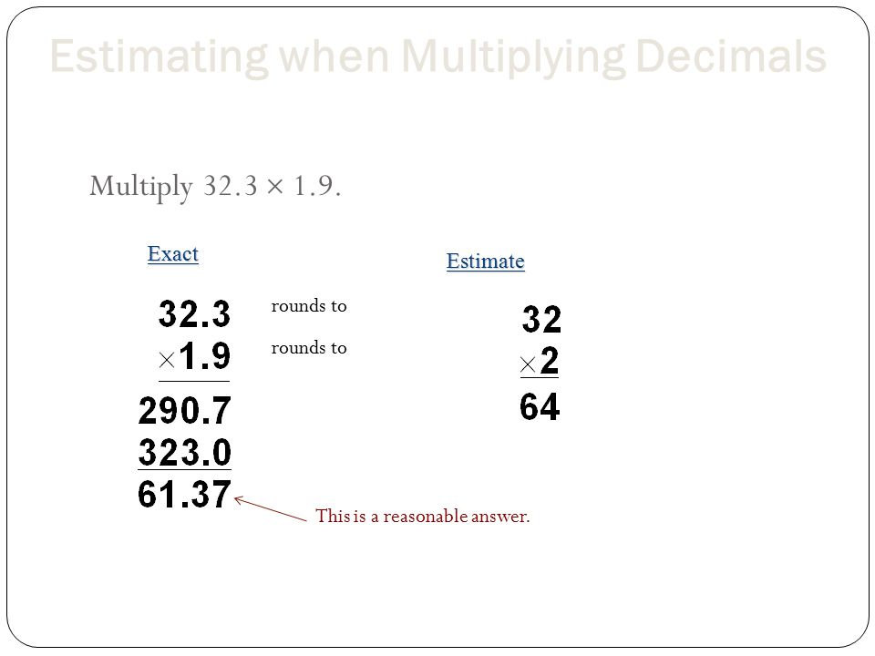 Multiplying Decimals Multiplying decimals is similar to