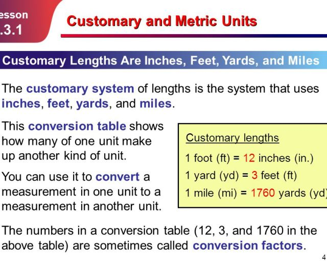Customary And Metric Units