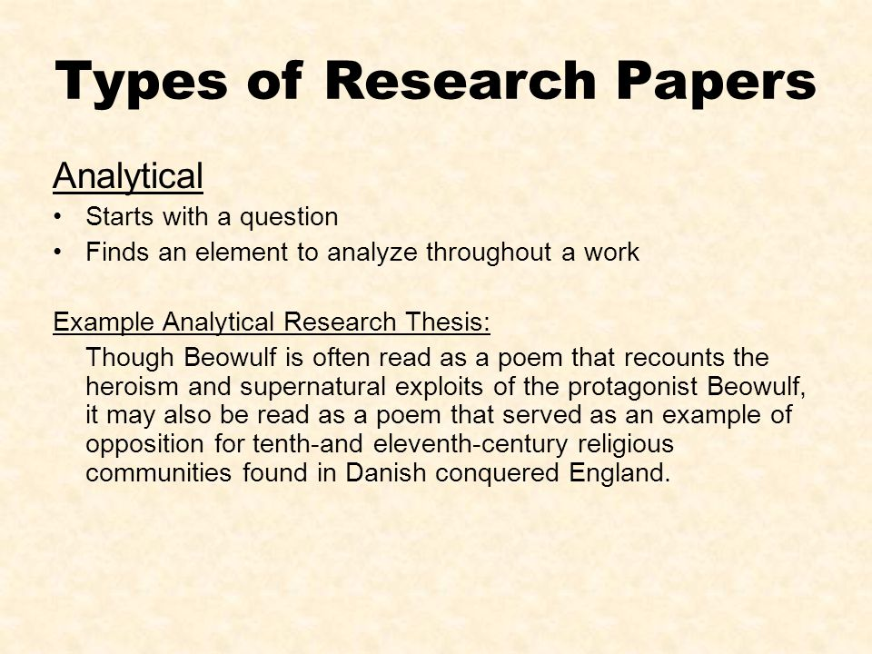 Thesis Statement For Analytical Research Paper Research Paper