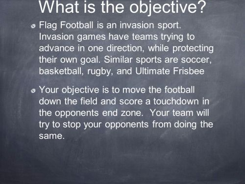 small resolution of flag football is an invasion sport invasion games have teams trying to advance in one direction while protecting their own ppt video online download