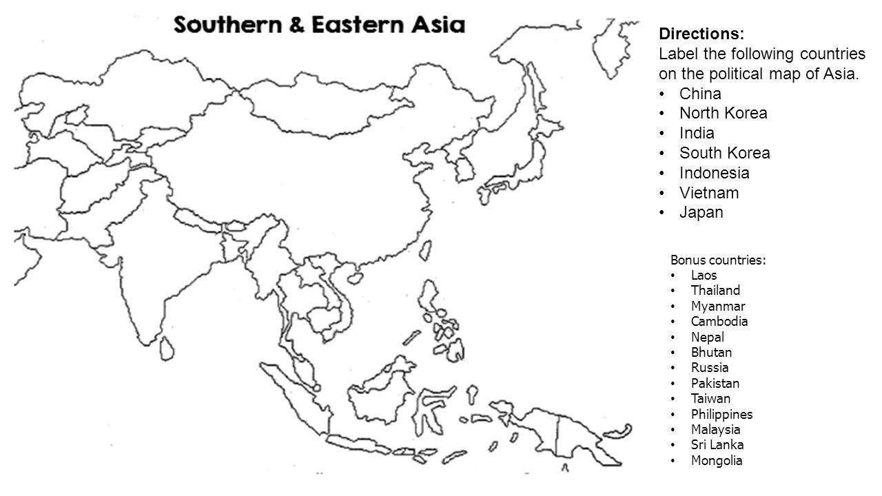 Label the following countries on the political map of Asia