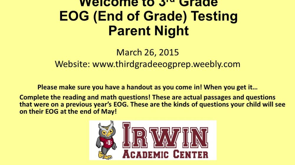 medium resolution of Welcome to 3rd Grade EOG (End of Grade) Testing Parent Night - ppt video  online download