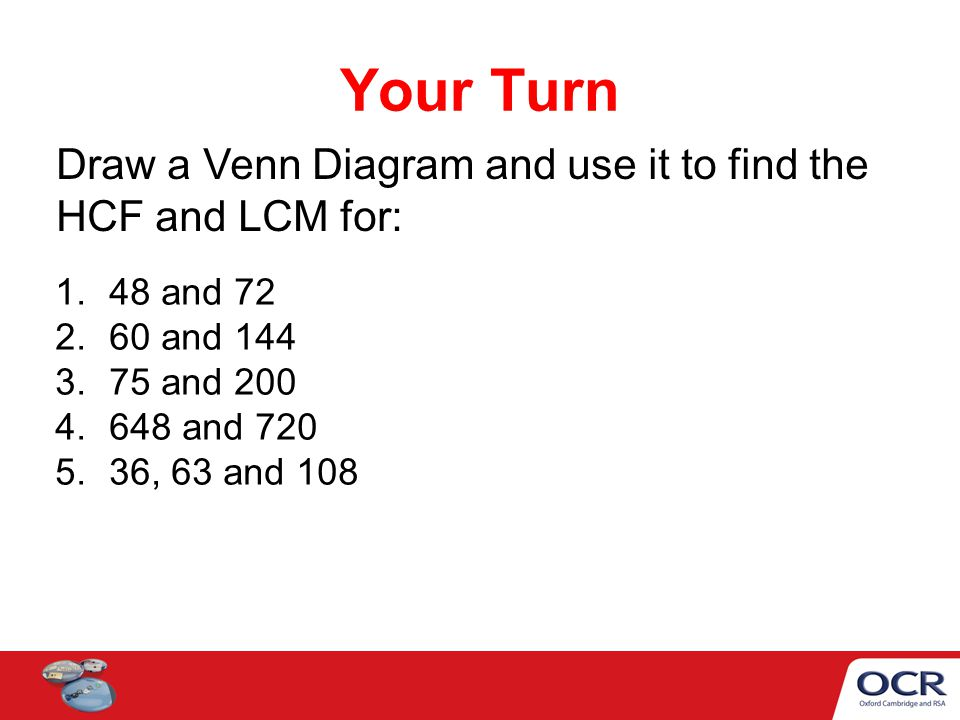 hcf and lcm using venn diagrams cell membrane diagram for dummies to find the ppt video online download 10 your turn draw a use it