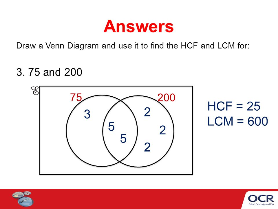 hcf and lcm using venn diagrams electronics mini projects with circuit diagram to find the ppt video online download answers draw a use it for