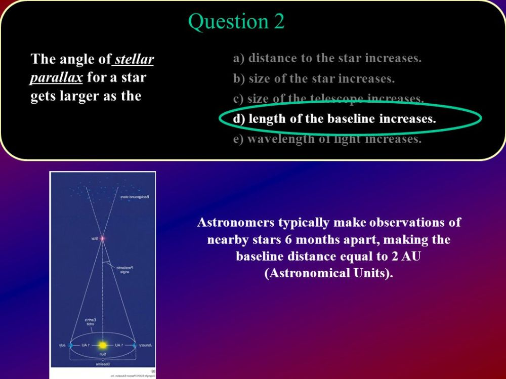 medium resolution of question 2 the angle of stellar parallax for a star gets larger as the