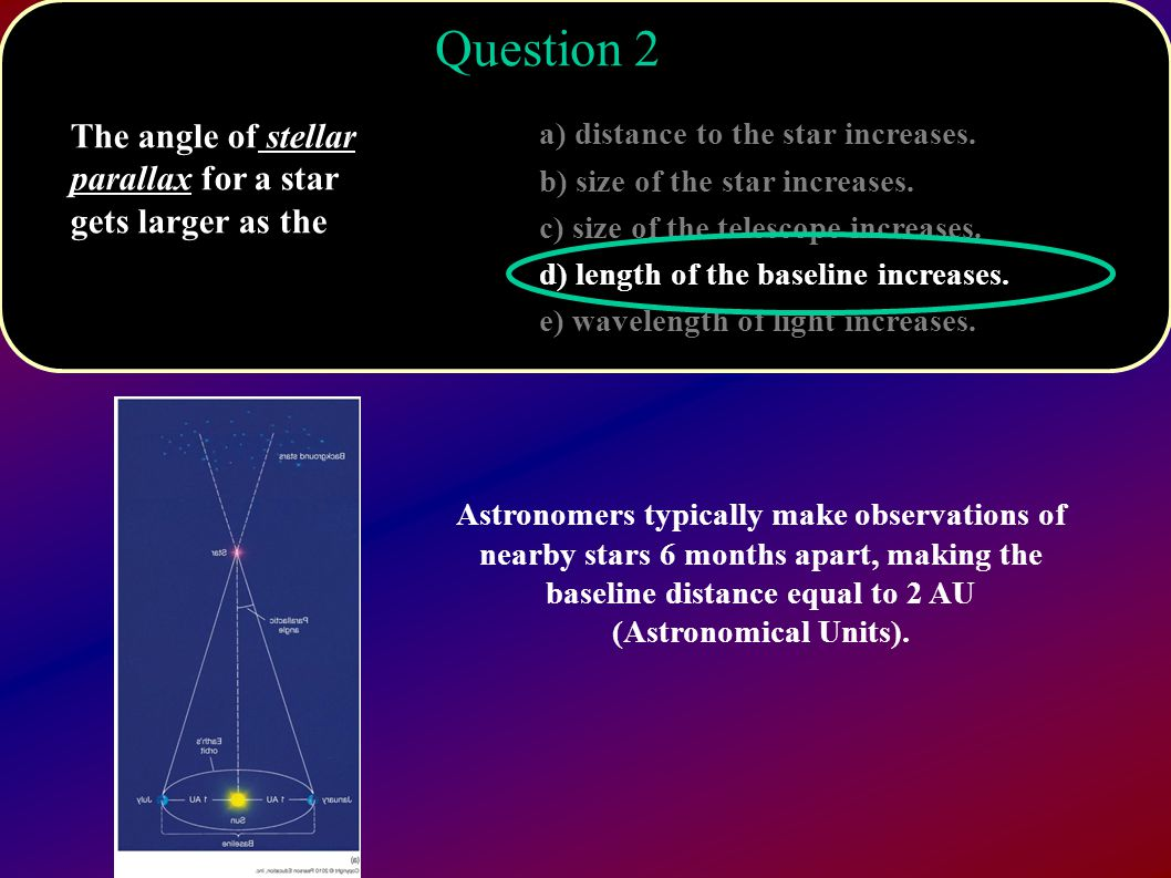 hight resolution of question 2 the angle of stellar parallax for a star gets larger as the