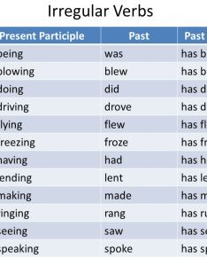 Irregular verbs verb present participle past be also tenses by mrs  irizarry ppt video online download rh slideplayer