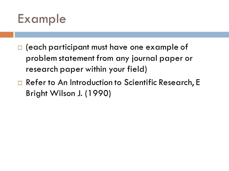WRITING PROBLEM STATEMENT FOR RESEARCH IN SCIENCE