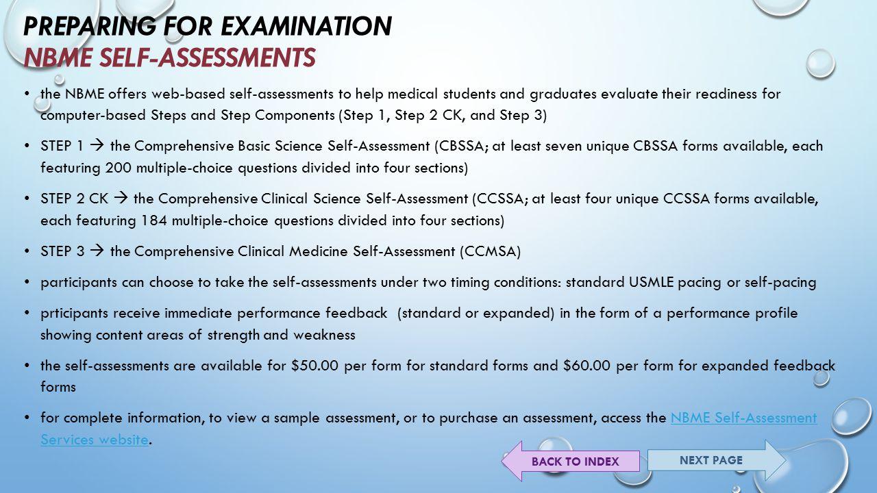 Preparing For Examination Nbme Self-Assessments