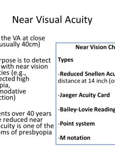 Near visual acuity testing the va at close range usually cm also system examination ppt video online download rh slideplayer