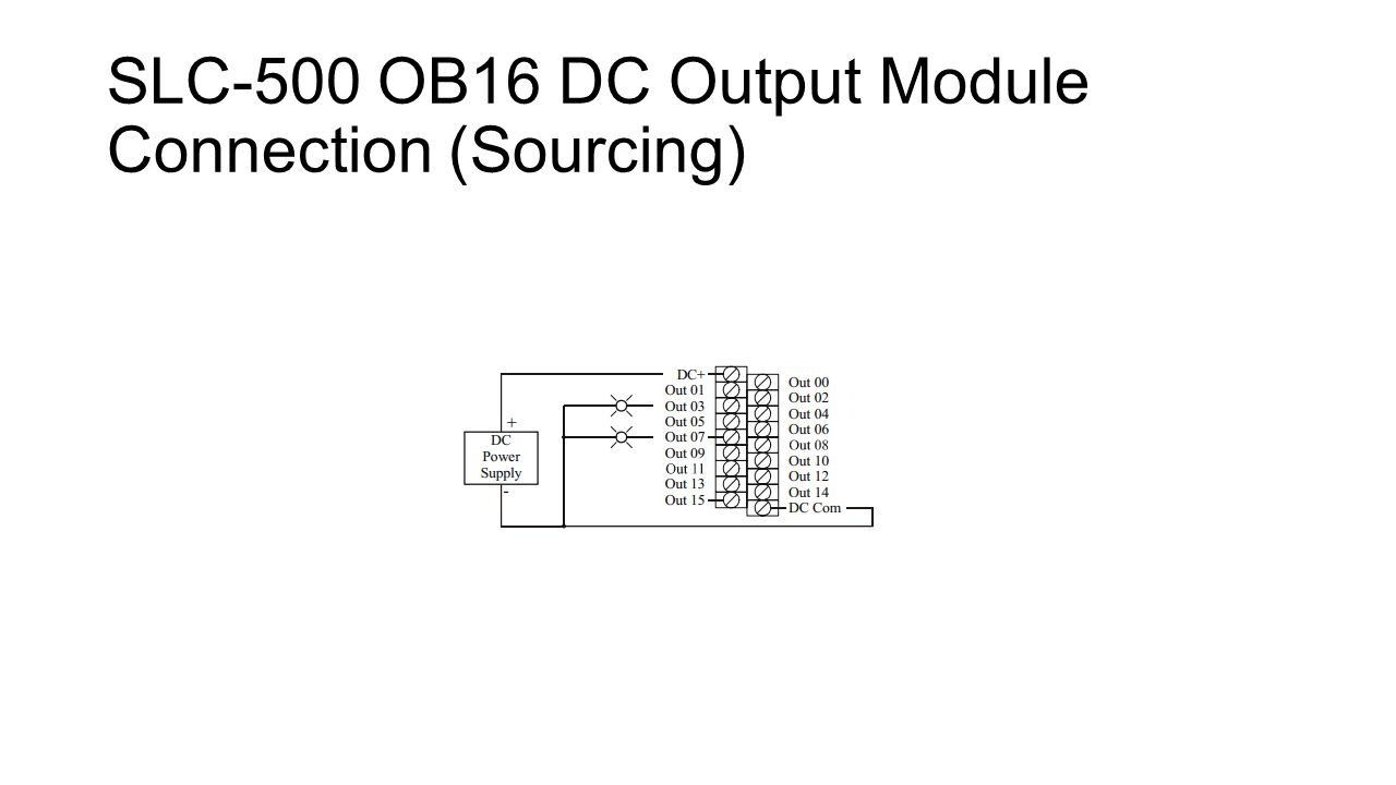 hight resolution of 12 slc 500 ob16 dc output module connection sourcing