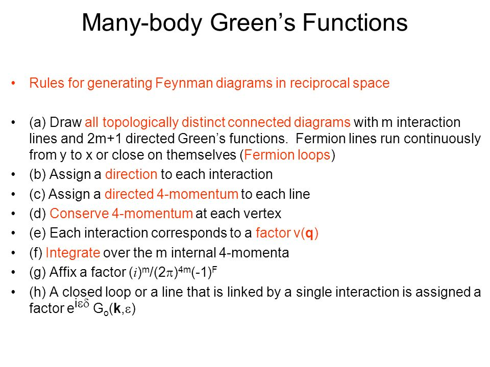 feynman diagram techniques in condensed matter physics wire for car stereo many body green s functions ppt video online download 16 rules generating diagrams