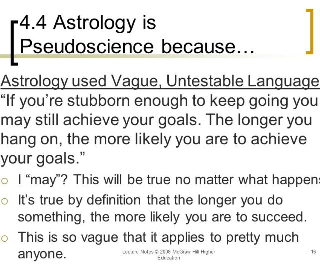 Astrology Is Pseudoscience Because