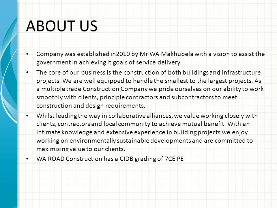 WA ROAD CONSTRUCTION COMPANY PROFILE Ppt Video Online
