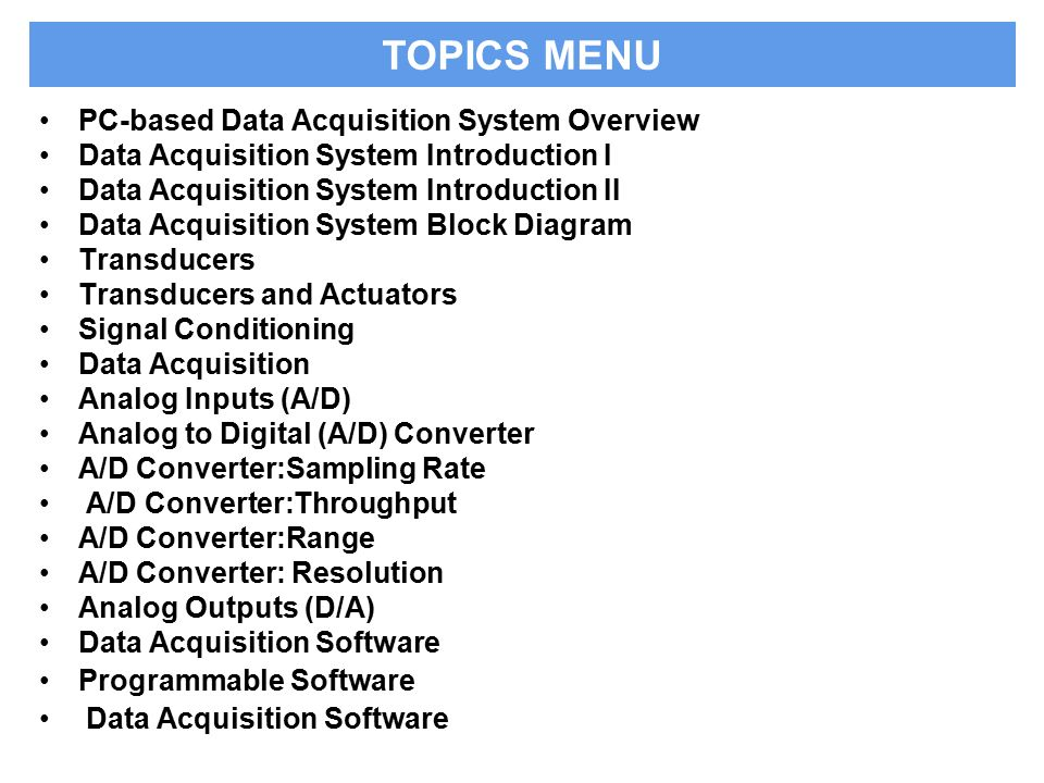 analog data acquisition system block diagram xlr wire basics of systems ppt video online download topics menu pc based overview